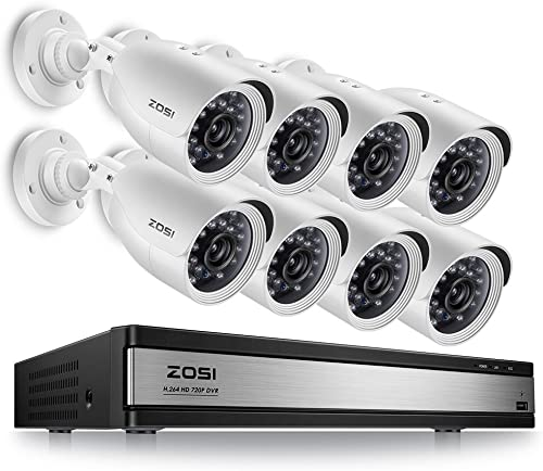ZOSI Home Security Camera System 16 Channel,1080p Lite CCTV DVR Recorder and 8 x 720p Weatherproof Home Surveillance Bullet Camera Outdoor Indoor with Night Vision No Hard Drive
