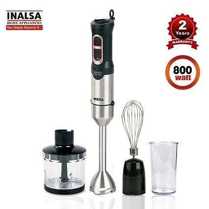 Inalsa Hand Blender Robot INOX 1000 Powerful 3 in 1 | Chopper / Whisker |  Silent 800 Watt DC Motor | Variable Speed | 600 ml Multipurpose Jar |LED ...