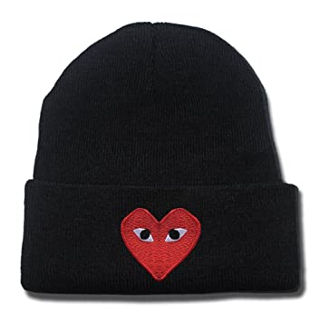 KIM Play Comme Des Garcons Red Heart Eyes Logo Beanie Fashion Unisex  Embroidery Beanies Skullies Knitted Hats Skull Caps  Amazon.ca  Sports    Outdoors a213176f2abd