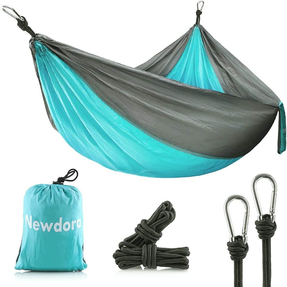 Newdora Camping Hammocks Garden Hammock Ultralight Portable Nylon Parachute Multifunctional Lightweight Hammocks with 2 x Hanging Straps for Backpacking, Travel, Beach, Yard
