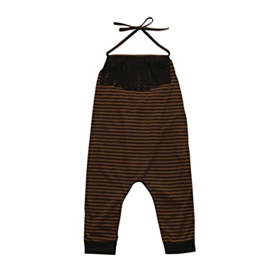 Freshzone Baby Girls Infant Neck Straps Pants Kid Striped Print Tassel Jumpsuit Romper Clothes
