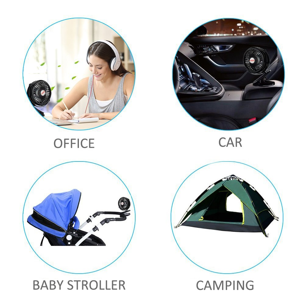 Battery Powered Fan Clip on Rechargeable Portable Mini USB for Table Stroller Outdoor, Black by LEESOR (Image #9)