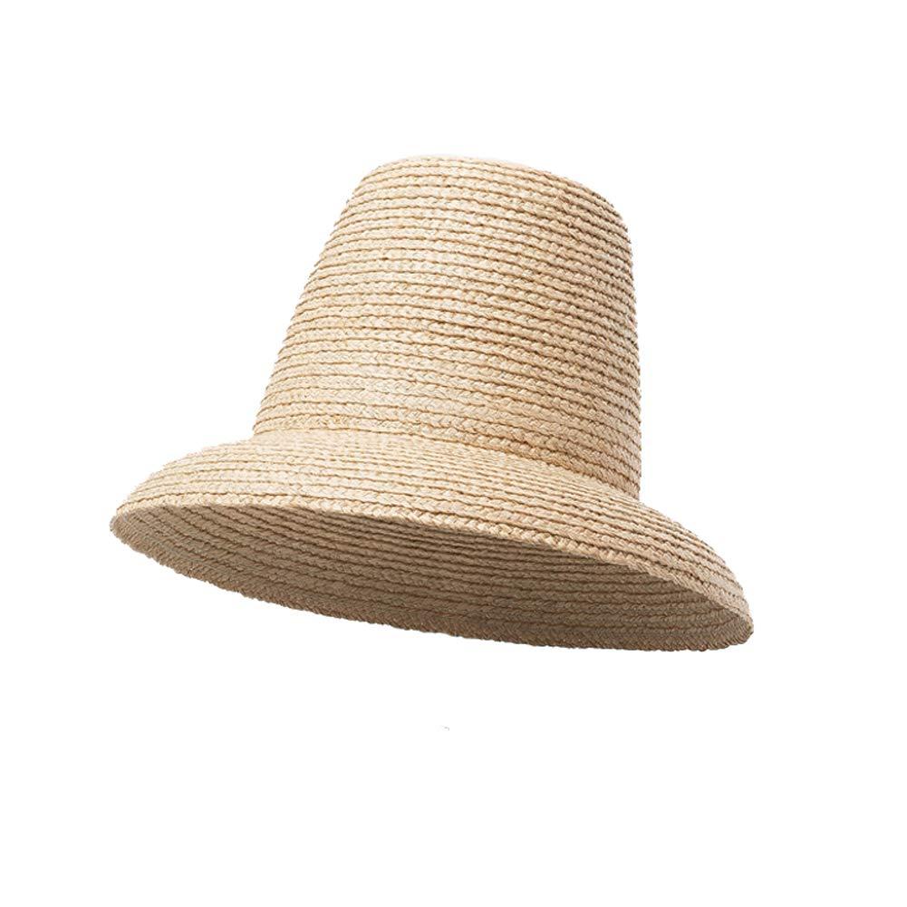 Raffia Braid Bucket, Women Summer Sun Hat, High Crown Bell Shaped Cloche (Natural)