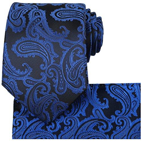 KissTies Mens Tie Set Paisley Necktie + Pocket Square, Navy Blue