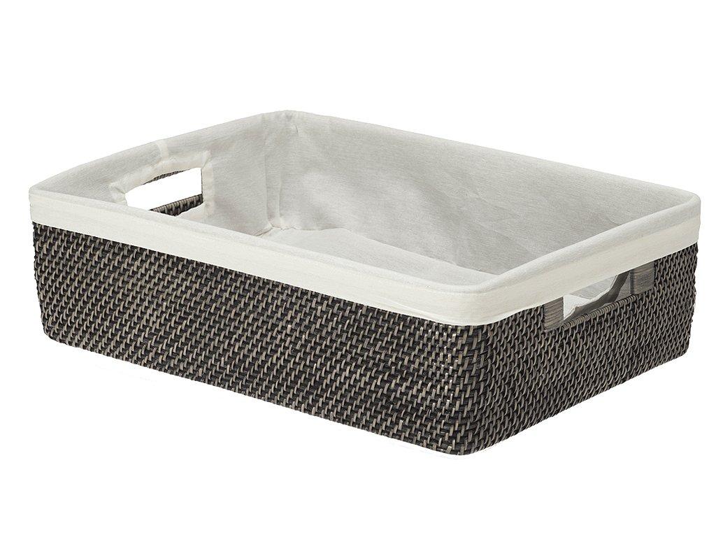 KOUBOO Rattan Shelf Basket with Liner, Black Wash by Kouboo