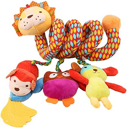 Lalang Baby Kids Spiral Activity Hanging Toys Stroller Toy Car Seat Bed Hanging Toys (Lion)