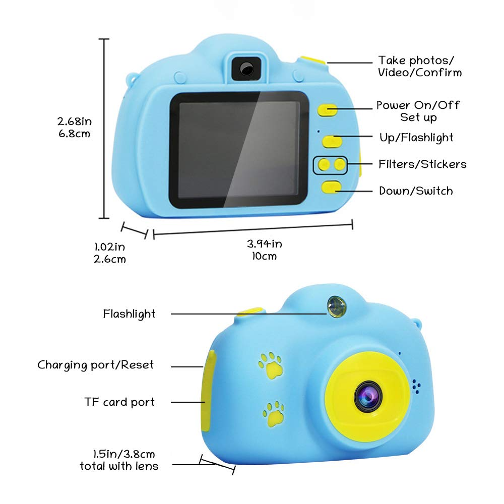 Kids Camera, Digital Camera for Kids 3-10 Years Old with 8.0MP 1080P 2.0 Inches IPS Screen, No Peculiar Smell, Shockproof and Rechargeable Kids Video Camera for Girls Boys (16GB TF Card Included)