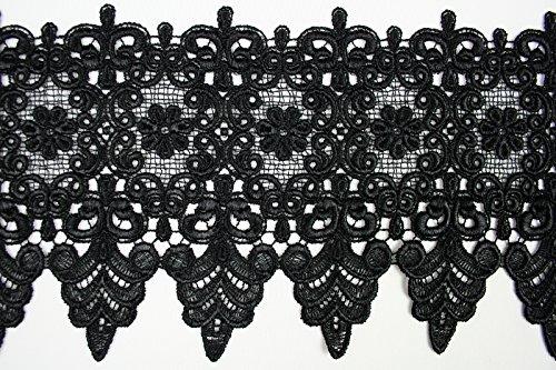 Scalloped Trim Black (10 Colors Floral Embroidered Scalloped Venise Guipure Applique Lace Trim (Black))