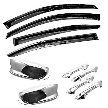 4-Piece Set for 2008-2012 Honda Accord Auto Ventshade 794007 Low Profile Ventvisor Side Window Deflector with Chrome Trim