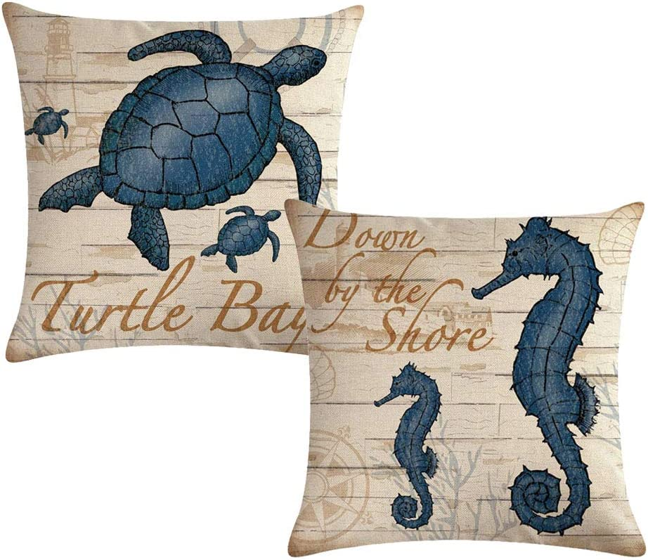 Coastal Throw Pillow Covers Sea Theme With Sea Turtle & Sea Horse Pattern Cushion Cover Nautical Animals Square Cotton Linen Pillowcases 18