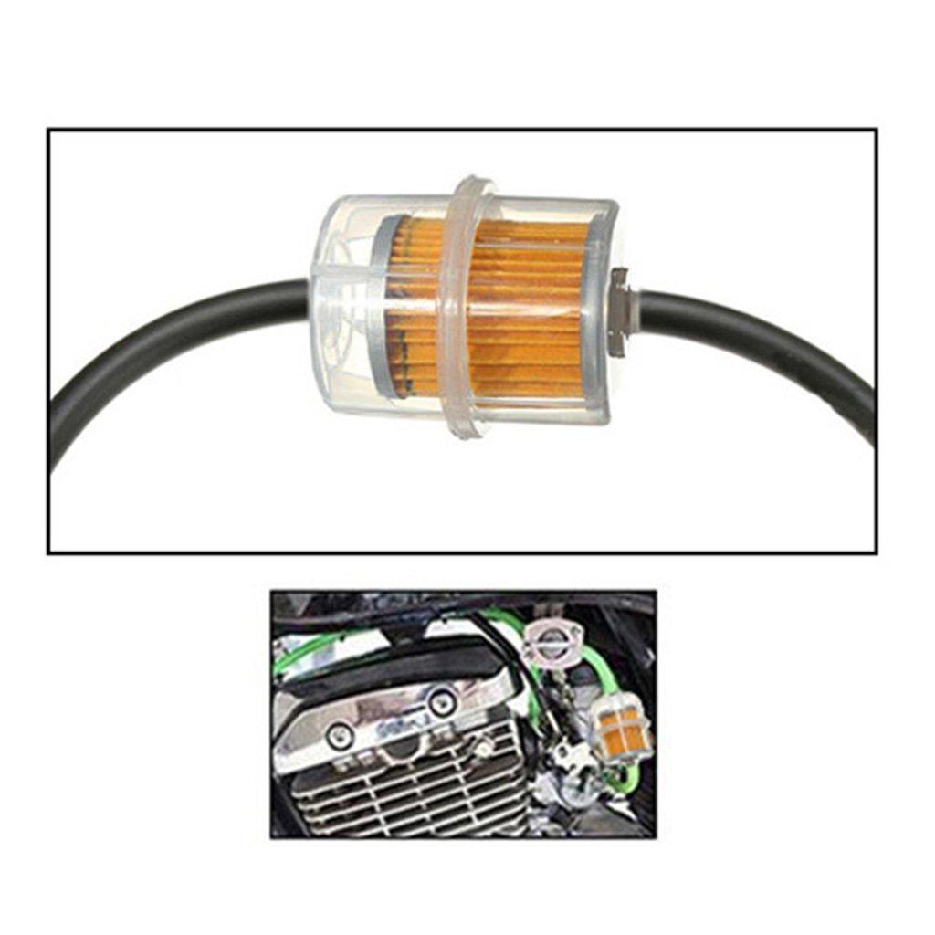 perfk Benzin Inline Kraftstofffilter Gas-Kraftstofffilter Universal-Benzinfilter Passend f/ür 6mm 8mm Rohre