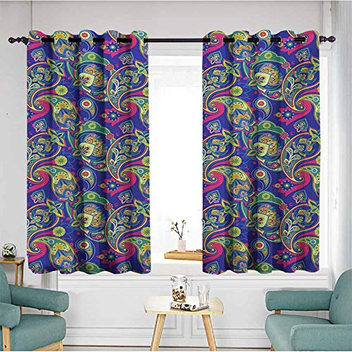 AndyTours Simple Curtains,Paisley Classic Persian Jacquard Boteh Ikat Motifs Old Welsh Pears Artwork,Darkening Thermal Insulated Blackout,W63x45L,Indigo and Olive Green (Dot Jacquard Ribbon)