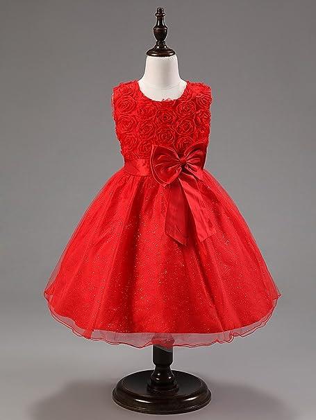 Katara Vestido de noche para Niña con flores y con arco, color Rojo, talla 92/98 (tamaño fabricante 90): Amazon.es: Juguetes y juegos