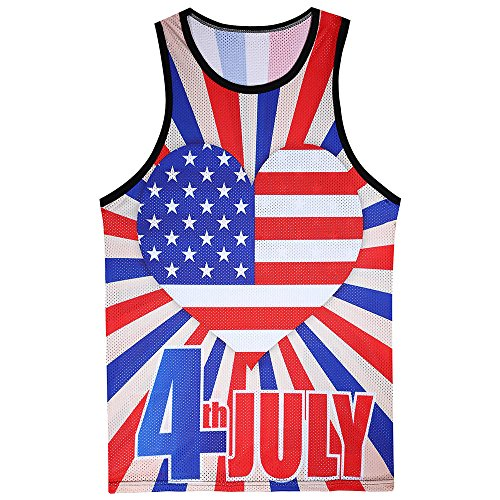 Independence Day Vest Top for Men, MmNote Summer Mesh Soft Lightweight Moisture Wicking Performance Breathable Quick-Dry Vest ()