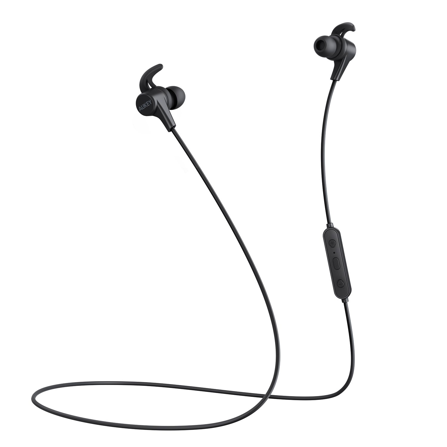 AUKEY Latitude Wireless Headphones, 3 EQ Sound Modes, aptX Sweat-Resistant Nano Coating, Secure Fit Bluetooth Sports Earbuds, 8-Hour Battery Life