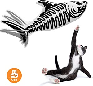 Beewarm Electric Flopping Cat Kicker Fish Toy, Realistic Flopping Fish, Wiggle Fish Catnip Toys, Motion Kitten Toy, Plush Interactive Cat Toys, Fun Toy for Cat Exercise