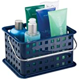 mDesign Stackable Plastic Storage Basket Bin with Handle for Organizing Hand Soaps, Body Wash, Shampoos, Lotion, Conditioners