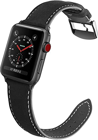 Yierya Compatible para Correa Apple Watch 38MM 40MM 42MM 44MM, Correa Reloj de Cuero, Compatible para iWatch Series 4,Series 3, Series 2, Series 1 (38mm 40mm, Black): Amazon.es: Relojes