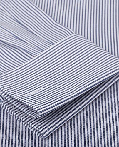 TM Lewin Herren Business-Hemd, Gestreift Blau Navy