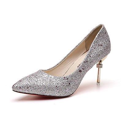 cf7f2da016c461 Escarpins à Talons Hauts pour Femmes Chaussures Stiletto Glitter à  Paillettes Soirée Mode Pumps Argent 34