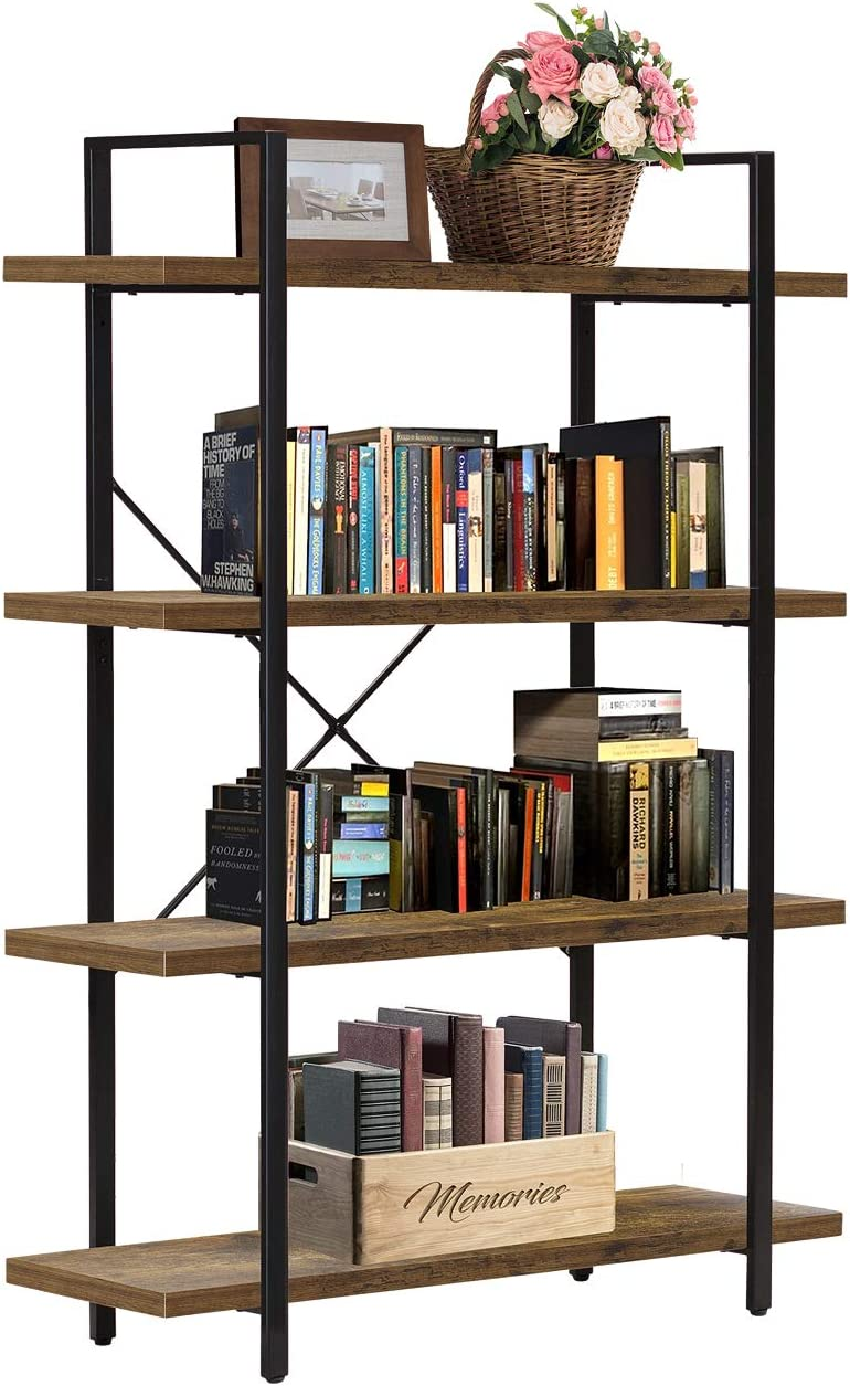 Sorbus Bookshelf 4 Tiers Open Vintage Bookcase Storage Organizer, Modern Industrial Style Bookshelves Furniture for Home Office, Wood Look & Metal Frame (4-Tier, Retro Brown)