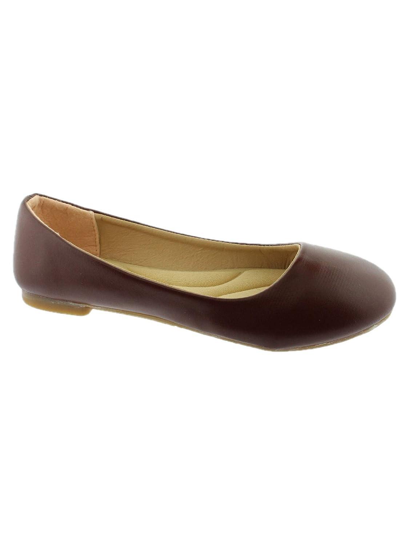 Lady Boss Girls Coffee Rounded Toe Slip On Trendy Ballet Flats 11-4 Kids