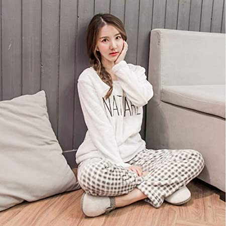 c87203b651 SALICEHB Thick Warm Pajamas Sets Winter Women Two Piece Pajama Set Cartoon  Female Sleepwear Home Clothing Women S Pajamas Suit  Amazon.co.uk  Kitchen    Home