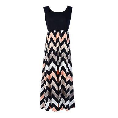 Suppliesed Women Dress O-Neck Striped Print Maxi Dress Office Vestido Sleeveless Beach Summer Dress
