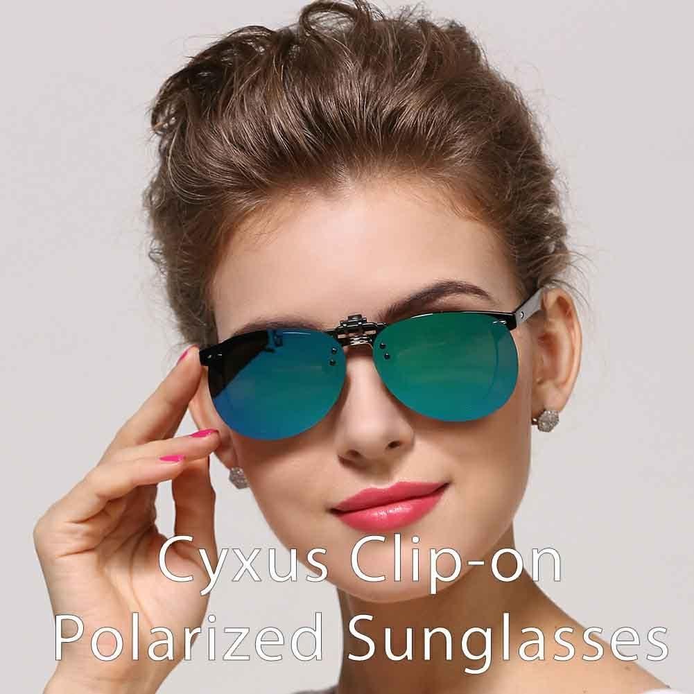 cyxus Aviator/ Anti-Glare Flash lentes de espejo Classic Clip-on Receta /Gafas Gafas de sol polarizadas conducci/ón//Pesca Eyewear Hombres y Mujeres Protecci/ón UV