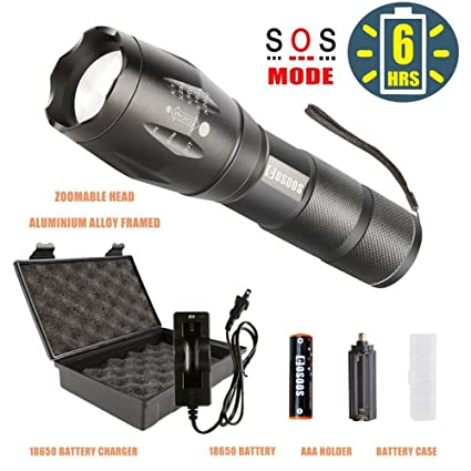 LED Flashlight with Rechargeable Battery and Charger, COSOOS Tactical  Flashlight,1000-Lumen Flashlight,Zoomable Waterproof Flash Light,5