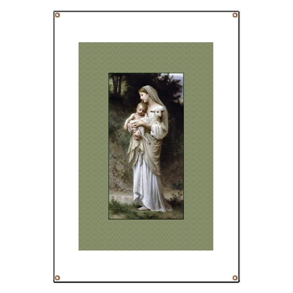CafePress Madonna, Child And The Lamb - Vinyl Banner, 44''x30'' Hanging Sign, Indoor/Outdoor