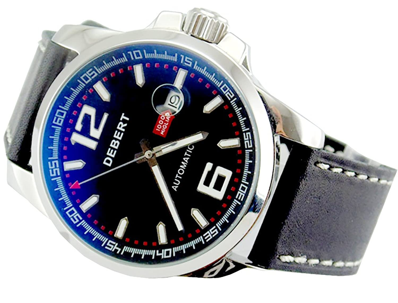 Debert 44 mmシルバーステンレス鋼ケースブラックダイヤル自動メンズ腕時計1491 B01KH0EFP8