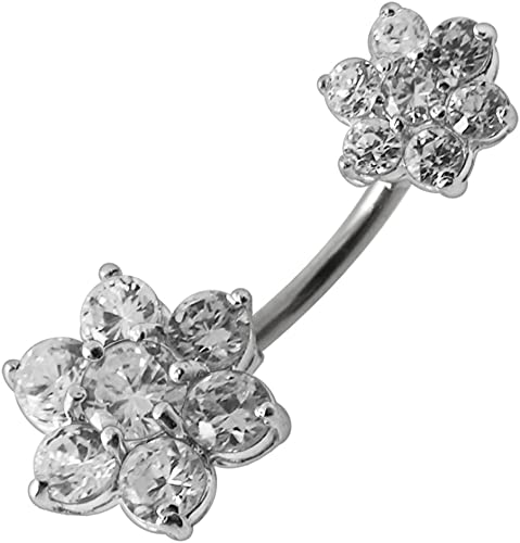 CZ Stone Dual Flower Dangling Design 925 Sterling Silver Belly Button Piercing Ring Jewelry