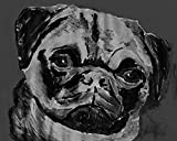 "Black and White Pug Dog Painting reproduction print Hand signed by Oscar Jetson - Dog Artist. Supplied on quality 210gsm matte paper. Choose a size above the add to Cart button ""select options"" starting at 8x10 inches. Hand Signed giclee Pug Art by O..."