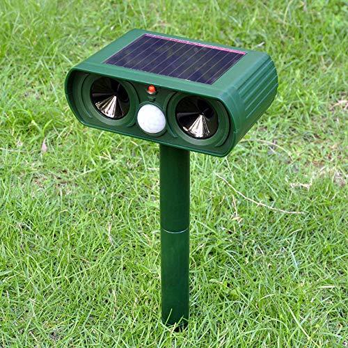 (PLIENG Cat Repellent, Animal Repeller, Ultrasonic Solar Battery Powered Waterproof Motion Sensor and Flashing Light Pet Deterrent for Rat, Vole, Raccoon, Fox, Rodent, Etc)