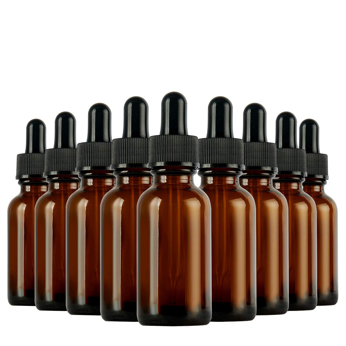 Eye Dropper Bottle, Hoa Kinh 48 Pack 1 oz 30ml Amber Glass Dropper Bottle with Droppers, 2 Funnels for Essential Oils, Perfumes (Brown, 1oz)