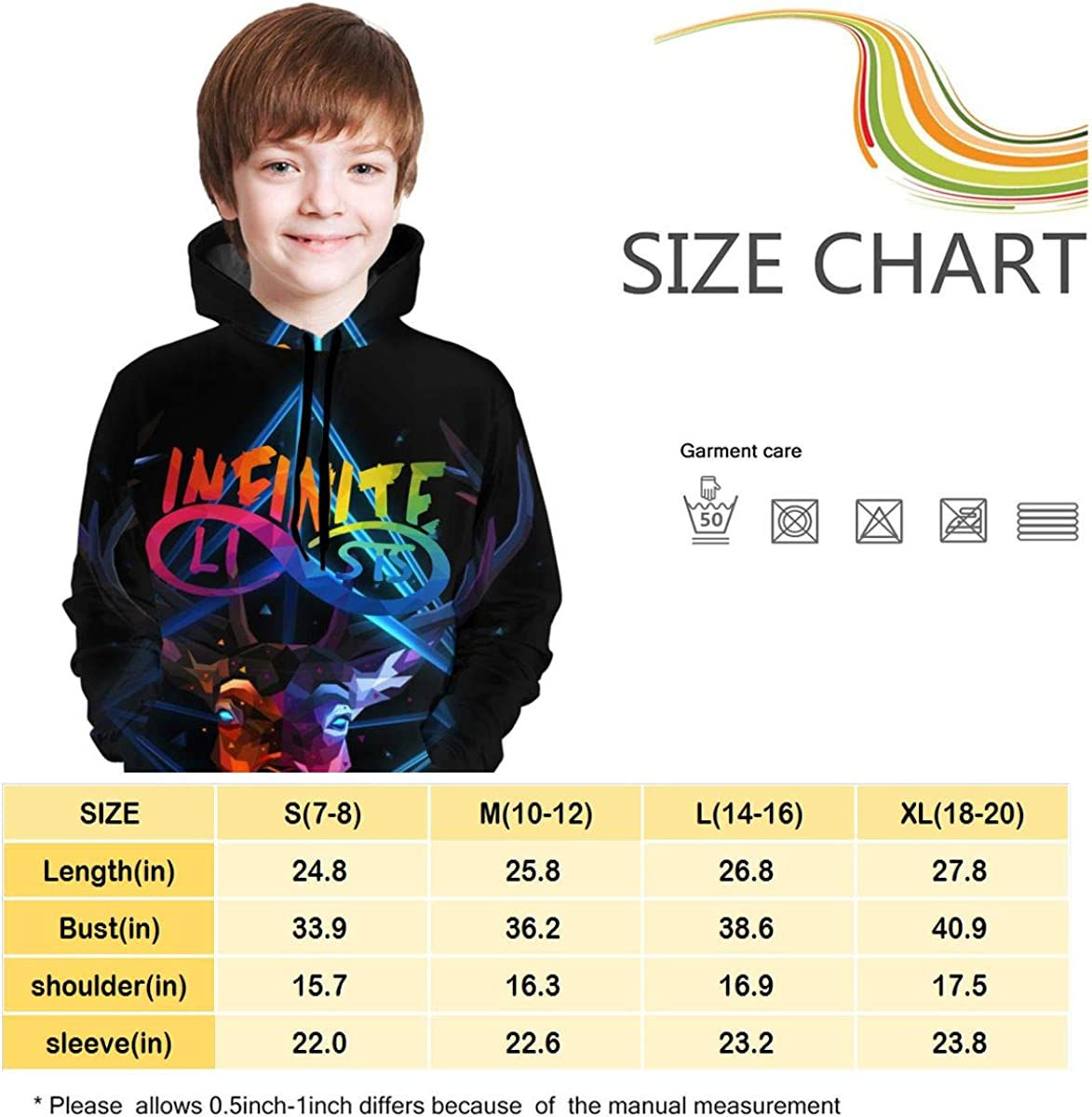 Youth Teen Girls Boys Infinite~Lists Colourful Merch Hoodie Pullover Clothes for Teens Long Sleeve Sweatshirt Hoodies