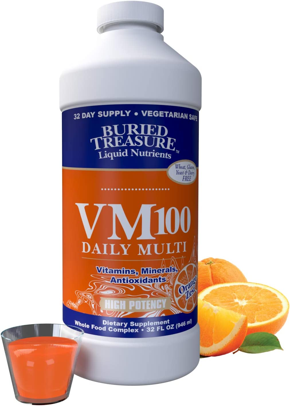 Buried Treasure VM100 Daily Multi Liquid Vitamins and 70 Minerals Plus Antioxidants Supplement Maximum Absorption Great Tasting, Orange Zest Flavor 32 Servings 32 oz. with Dose Cup