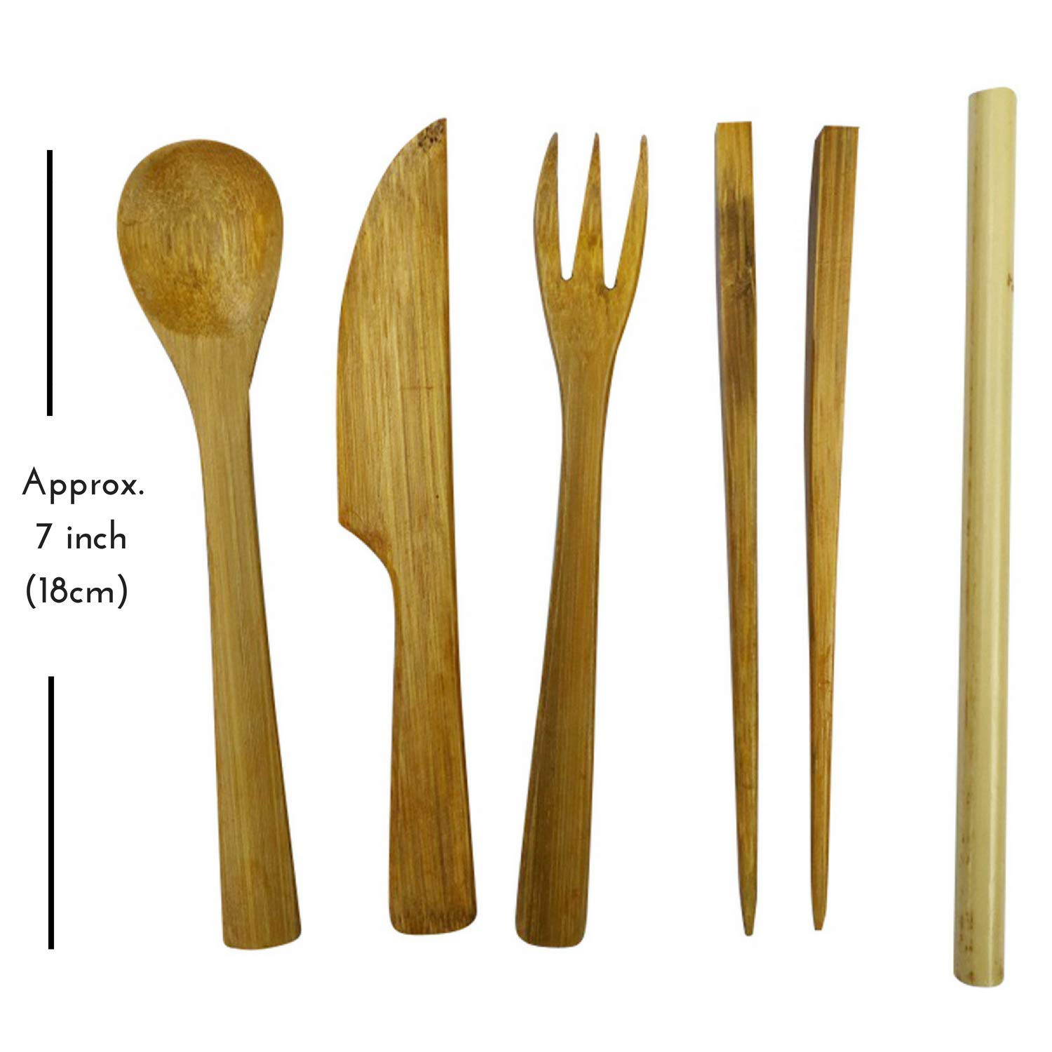 Bamboo Utensil Set in Slim Travel Pouch by Bare Vida - Premium Travel Cutlery Set With Bamboo Straw - Portable & For Traveling - Eco Friendly Gift - 100% Organic Bamboo Made in Bali by Bare Vida