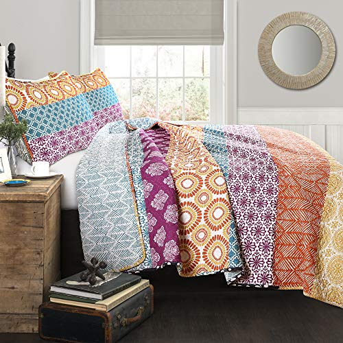 Lush Decor Bohemian Striped Quilt Reversible 3 Piece Colorful Boho Design Bedding Set Full Queen Fuchsia & Orange