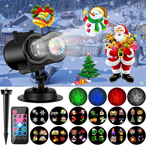 Earto Christmas Projector Lights - 2 in 1 Water Wave Light Projector with 12 Slides Patterns, Landscape Lights Waterproof Outdoor/Indoor Holiday Decoration Lights for Christmas, Thanksgiving, -