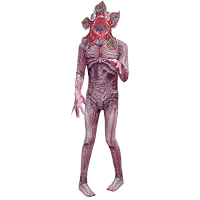 Kids Demogorgon Costumes Halloween Zentai Bodysuit Jumpsuit Dress Up Horror Cannibal Flower Cosplay Party Full Set: Clothing