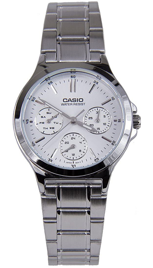 40ab97bf868f49 Amazon.com: Casio LTP-V300D-7A Women's Standard Stainless Steel  Multifunction White Dial Watch: Watches