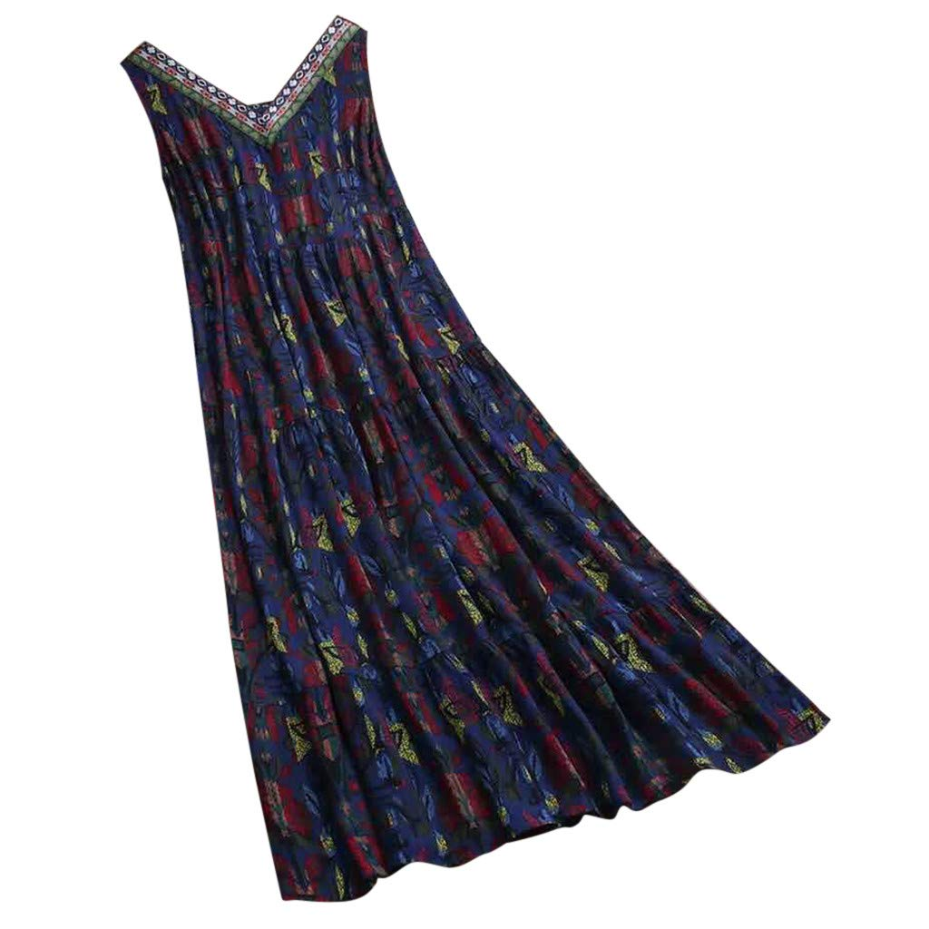 Usstore Women Maxi Dress Plus Size Loose Boho Vintage Ethnic Print Summer V-Neck Sleeveless Cozy Splice Baggy Beach Robe