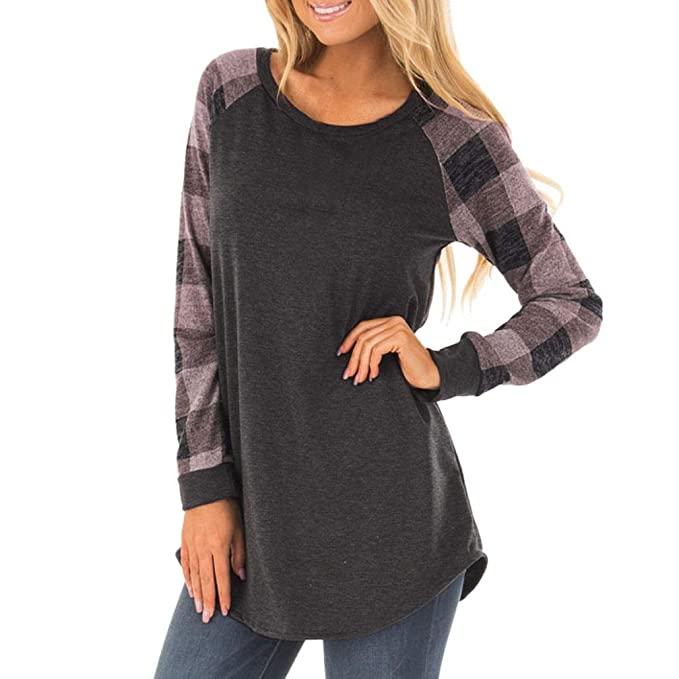 Tefamore Blusa de mujer Camiseta O cuello Sólido manga larga Tops t shirt, rayas Splice