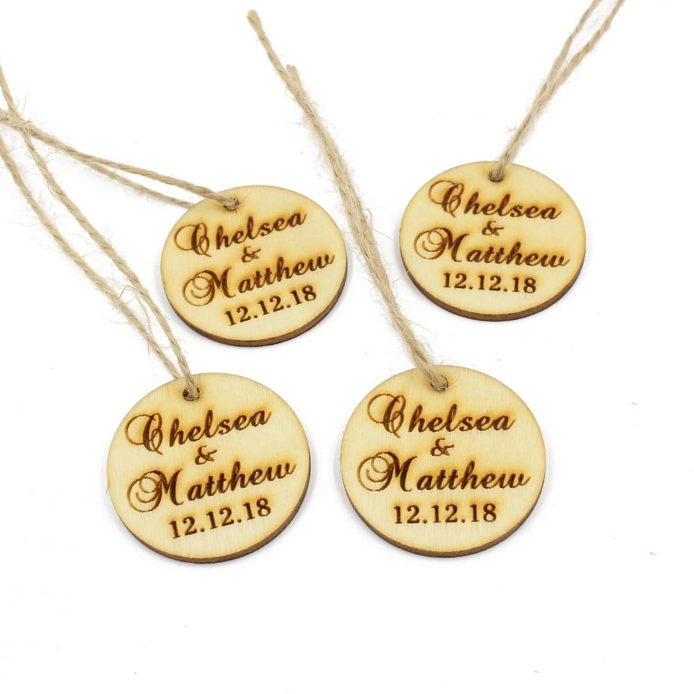 Meomeo2356 Wood Gift Tags 50 Pcs Personalized Engraved Wooden Round Tags Wedding Gift Labels with Custom Rustic Wood Wine Charm Bridal by Meomeo2356