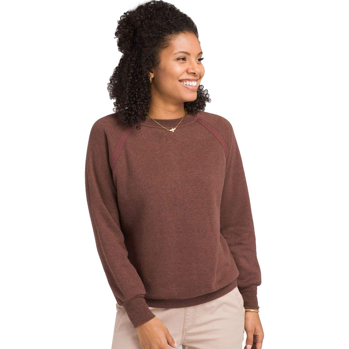 prAna Women's Cozy Up Sweatshirt, Cocoa Heather, Large by prAna