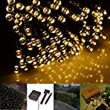 GBB Solar Powered 12M/39ft 100 LEDs String Fairy Light for Outdoor Garden Christmas Halloween Party Decoration.XMAS Sales! Get yours Now!!(Warm White)