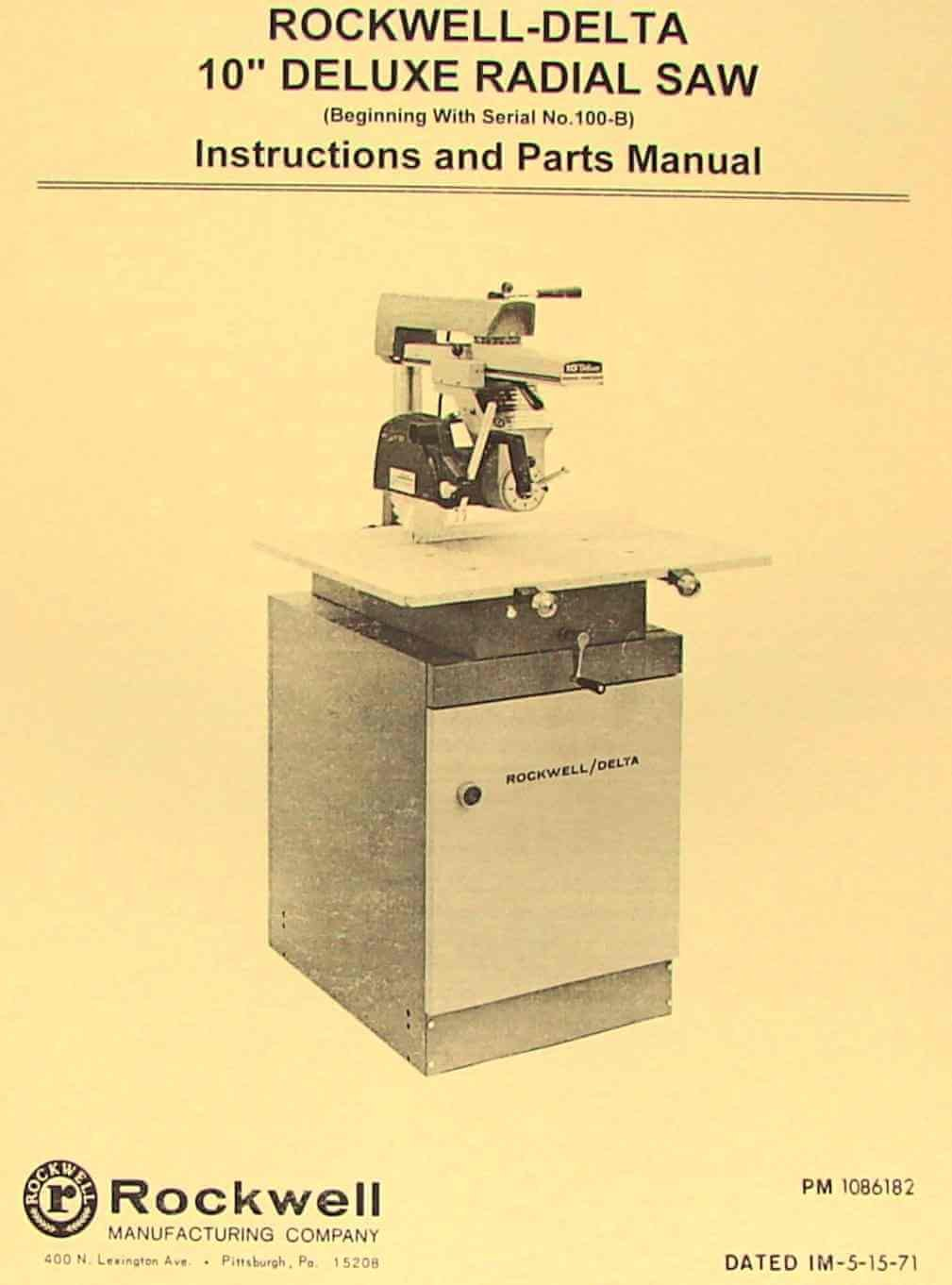 Delta 33-990 Model 10 Deluxe Radial Arm Saw Instructions Manual