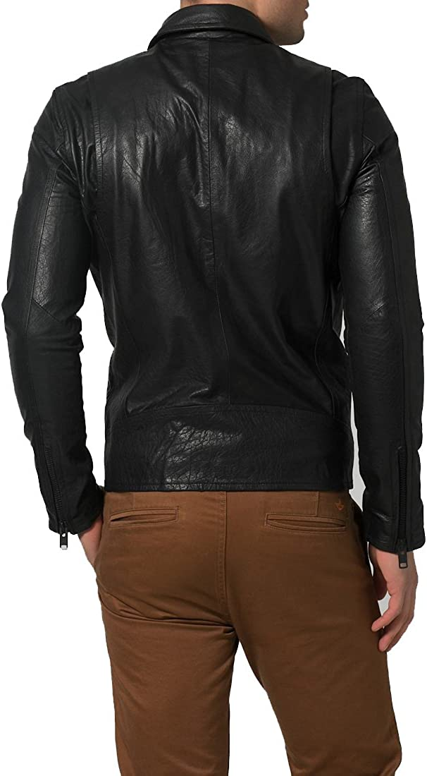 New Mens Genuine Lambskin Leather Slim Fit Biker Motorcycle Jacket for Men X371
